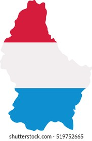 Luxembourg map with flag