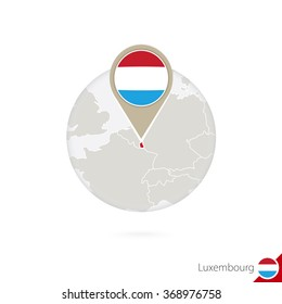 Luxembourg map and flag in circle. Map of Luxembourg, Luxembourg flag pin. Map of Luxembourg in the style of the globe. Vector Illustration.