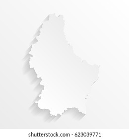 Luxembourg Map with shadow. Cut paper isolated on a white background. Vector illustration.