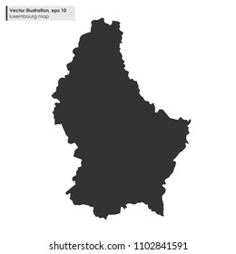 luxembourg map vector flat illustration on white background