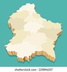 Luxembourg Map Vector Three Dimensional