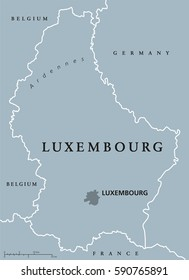 Luxembourg political map with capital, national borders and neighbor countries. Grand Duchy of Luxembourg, a landlocked country in Western Europe. Gray illustration with English labeling. Vector.