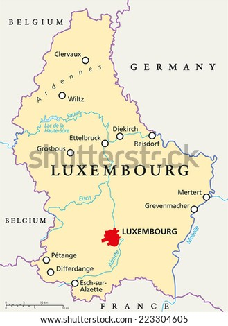 Luxembourg Germany Map.Luxembourg Political Map Capital Luxembourg National Stock Vector