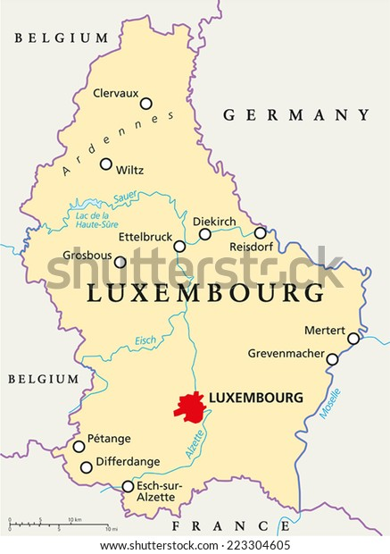 Map Of France With Cities And Rivers.Luxembourg Political Map Capital Luxembourg National Stock Vector
