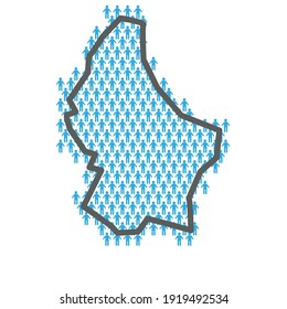Luxembourg population map. Country outline made from people figures