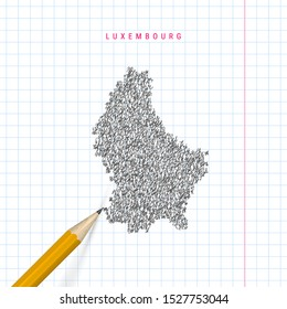 Luxembourg sketch scribble map drawn on checkered school notebook paper background. Hand drawn vector map of Luxembourg. Realistic 3D pencil.