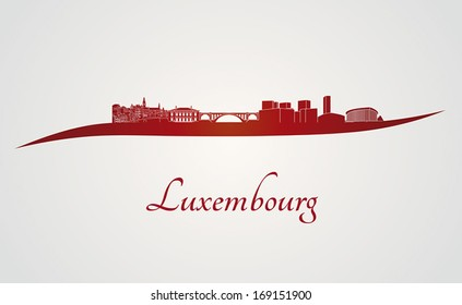 Luxembourg skyline in red and gray background in editable vector file