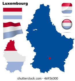 Luxembourg vector set. Detailed country shape with region borders, flags and icons isolated on white background.