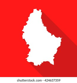 Luxembourg white map,border flat simple style with long shadow on red background