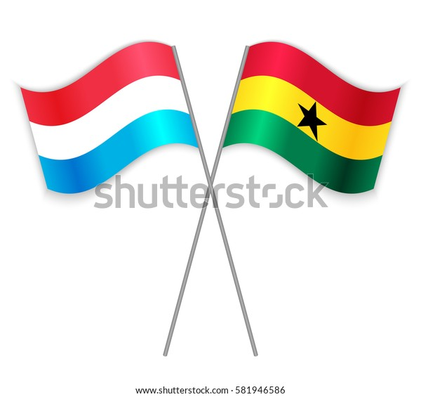 Luxembourgish and Ghanaian crossed flags. Luxembourg combined with Ghana isolated on white. Language learning, international business or travel concept.