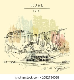 Luxor, Egypt. Temple of Hatshepsut (Dayr el-Bahri), with the cliffs behind. Colonnaded structure on the West bank of the Nile near the Valley of the Kings. Hand drawn vintage travel postcard in vector