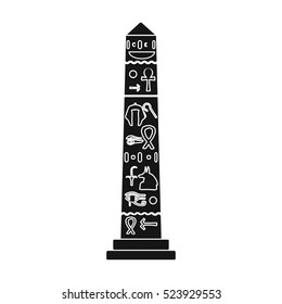 Luxor obelisk icon in black style isolated on white background. Ancient Egypt symbol stock vector illustration.