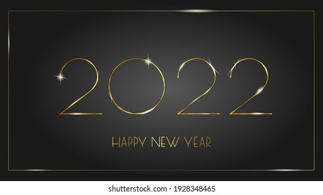 Luxurious 2022 Happy New Year elegant design bounded by an elegant golden frame. Vector illustration of 2022 gold glittering numbers logo on a black background - perfect typography for 2022. Vector il
