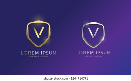 Luxurious 3D V letter shield badge, logo, vector,eps 10