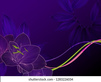 Luxurious abstract floral pattern with tropical  leaves and amaryllis flower in purple color.