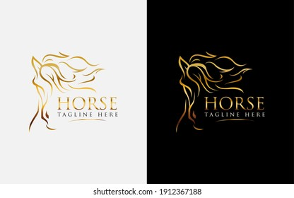 Luxurious Abstract Golden Horse Logo Design. Usable For Business and Brand Company. Vector Logo Illustration.