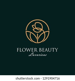 luxurious beauty flower logo spa salon cosmetics brand. looped flower and leaves logotype - vector