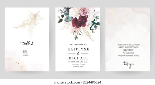 Luxurious beige and blush trendy vector design frames. Pastel pampas grass, fern, magnolia, dusty pink rose, peony flowers. Watercolor brush texture. Wedding cards. Elements are isolated and editable