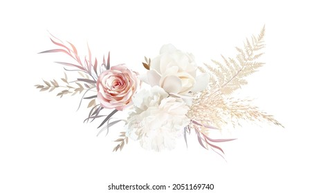 Luxurious beige and blush trendy vector design bouquet. Pastel pampas grass, ivory peony, creamy magnolia, dusty pink rose, dried leaves. Wedding blush floral. Elements are isolated and editable