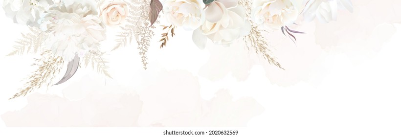 Luxurious beige and brown trendy vector design banner frame. Pastel pampas grass, fern, white rose, peony, flowers. Watercolor brush texture. Wedding card decoration.Elements are isolated and editable