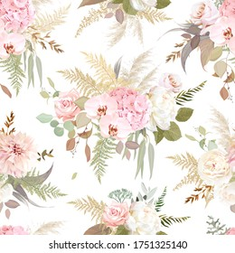 Luxurious beige trendy vector design floral print. Pastel pink rose, creamy peony, dahlia, blush hydrangea, white orchid, pampas grass, eucalyptus. Wedding pattern. Elements are isolated and editable
