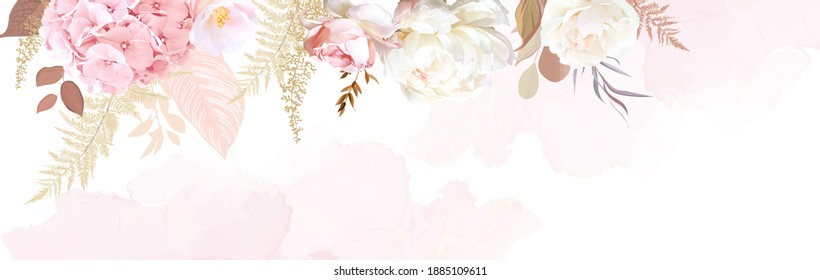 Luxurious beige trendy vector design watercolor banner frame. Ivory rose, blush pink hydrangea, camellia, peony, pampas grass, fern, eucalyptus. Wedding decoration. Elements are isolated and editable