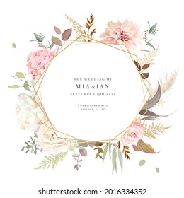 Luxurious beige trendy vector design card. Geometric golden art. Pastel pink rose, creamy peony, hydrangea, orchid, dahlia, ranunculus, pampas grass. Wedding frame. Elements are isolated and editable