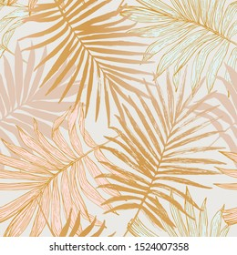 Luxurious botanical tropical leaf background in pastel pink and gold colors. Exotic foliage seamless pattern with gradient effect. Hand drawn vector illustration