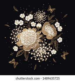Luxurious bouquet of flowers Isolated on black background. Gold, black and white. Peonies, butterflies sparkles. Decoration for design of wedding invitations, congratulations, interior. Vector Vintage