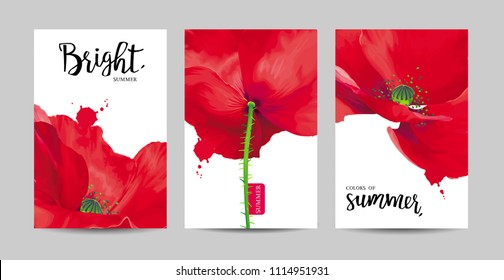 Luxurious bright red vector Poppy flowers paintings on white background with blots and splashes for floral decoration. Template set for invitation cards, wedding, banners, sales, brochure cover design