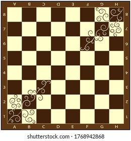 Luxurious brown chessboard with flourishes. Printable template