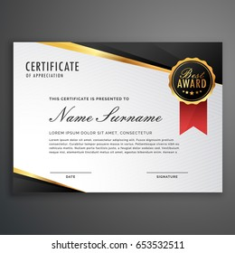 creative certificate appreciation award template blue のベクター