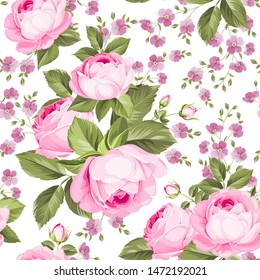 Luxurious color roses seamless pattern. Vector illustration.