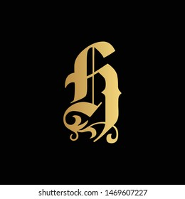 Luxurious Creative Modern Elegant Letter H Monogram Black and Gold Color | Initial Based Letter H Logo Design