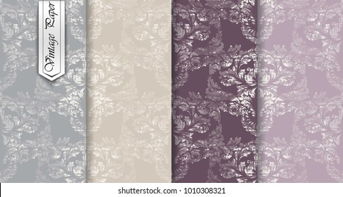 Luxurious Damask pattern set Vector. Baroque ornament luxury decor. Royal victorian background. Trendy color fabric textures