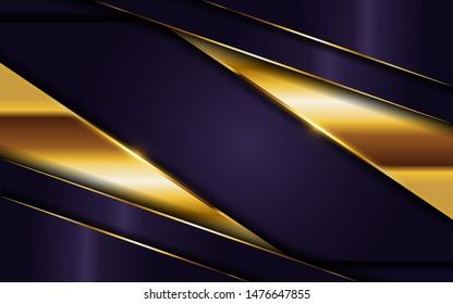 luxurious dark purple background with golden lines combination. elegant  modern background. eps vector