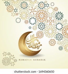 Luxurious and elegant design Ramadan kareem with arabic calligraphy, crescent moon and Islamic ornamental colorful detail of mosaic for islamic greeting.Vector illustration.