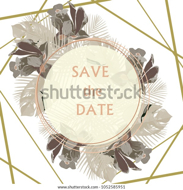 Luxurious Elegant Invitation Wedding Invitation Thank Stock Vector