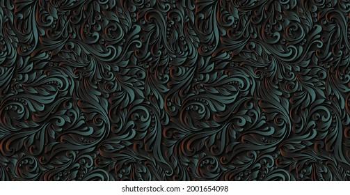 Luxurious floral batik background. Floral decoration curls illustration. Hand drawn paisley pattern elements. Vintage ornament, pattern. The decor has wavy curves.