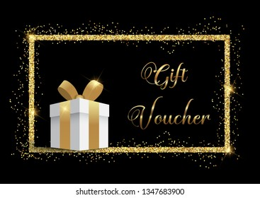 Luxurious gift voucher with gold glittery frame
