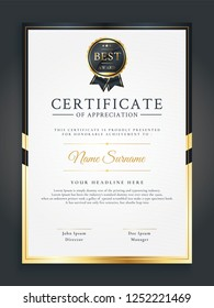 Luxurious gold certificate