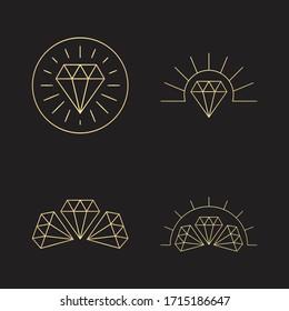 Luxurious Gold Geometric Lineart Diamond Jewel Logo Concept Vector 1