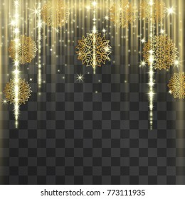 Luxurious golden Christmas and New year snowflake frame with shining tinsel . Glowing lacy decorative garland for sumptuous design, expensive festive concept.