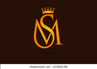 Luxurious Golden Crown SM logo design. Modern creative elegant SM or MS black and golden color. Vector Illustration logo design. Linked S and M letters corporate identity.