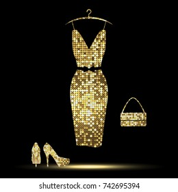 luxurious golden  dress, high-heeled shoes, bag on a black background