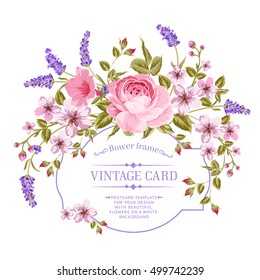 Luxurious invitation card of color peony, sacura and lavender flowers. Vintage floral invitation for spring or summer bridal shower. Rectangle card isolated over white background. Vector illustration.