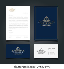 Luxurious logo cover letter and business card template