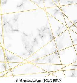 Luxurious marble stone realistic pattern with golden lines over. Vector illustration