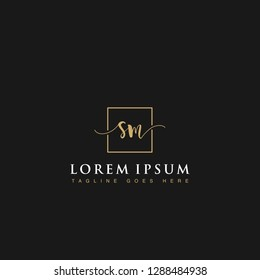 Luxurious minimalist elegant handwritten Initials letters SM linked inside square line box vector logo designs inspirations in gold colors for brand, hotel, boutique, jewelry, restaurant or company