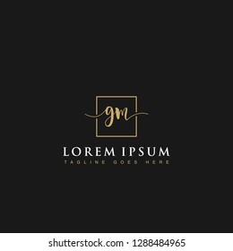 Luxurious minimalist elegant handwritten Initials letters GM linked inside square line box vector logo designs inspirations in gold colors for brand, hotel, boutique, jewelry, restaurant or company